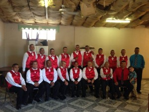 Men from the rehab center serving at a local wedding
