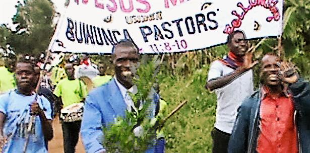 Pastors Chris and Vincent lead the Jesus March.