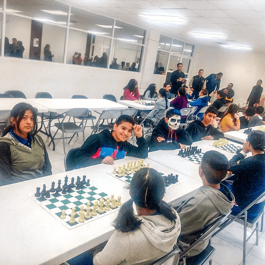 In the middle of a chess tournament.