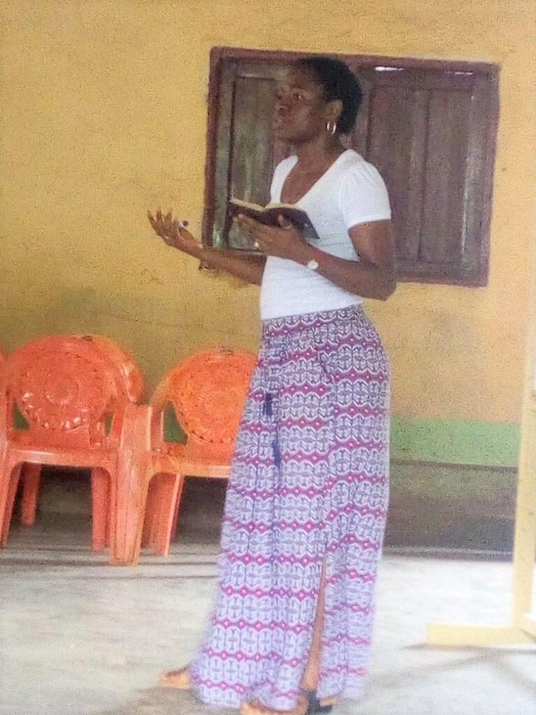 Emmanuela training parents and teachers at Christ the King Baptist.