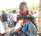 Receiving donated clothes.