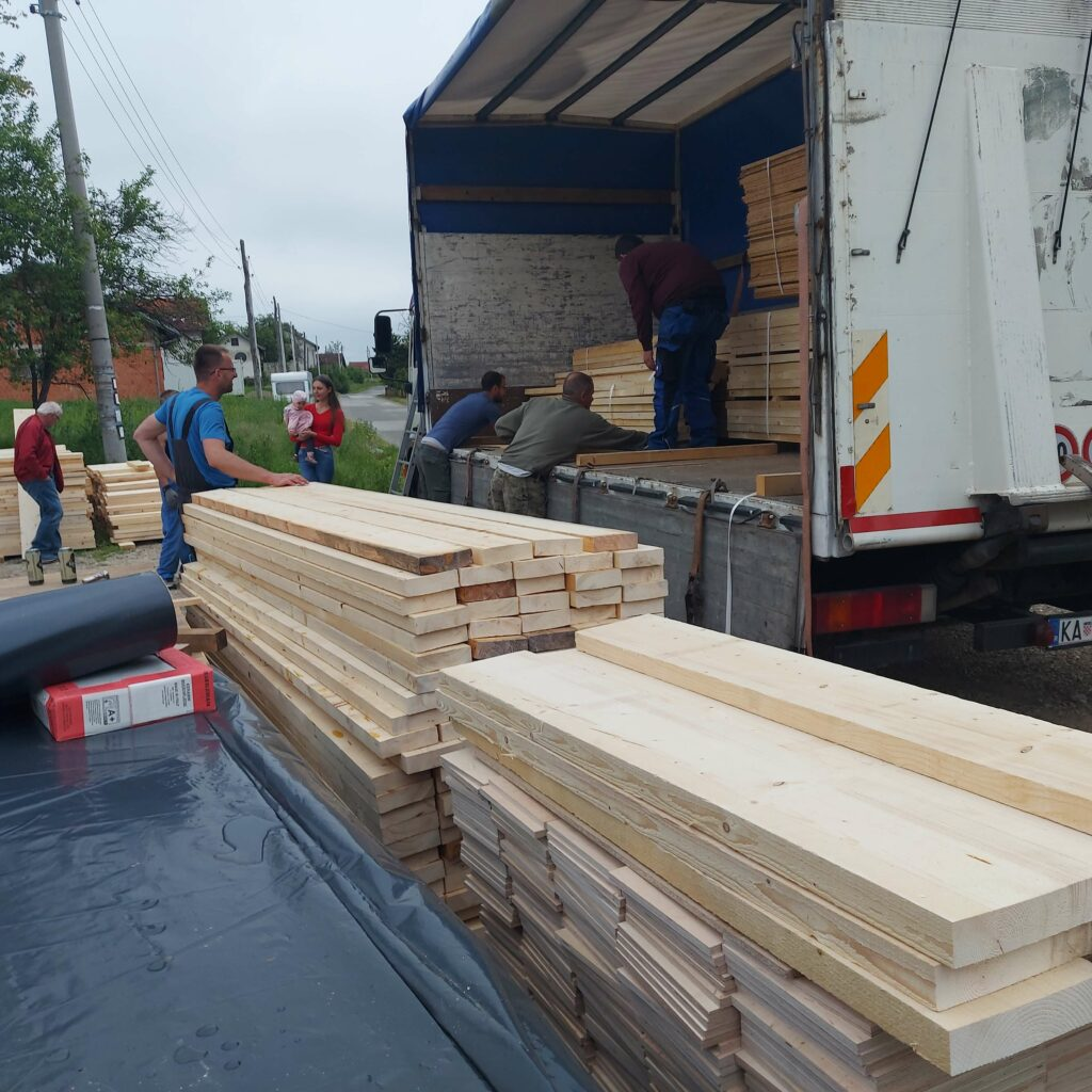 Delivery of supplies to start building the store.